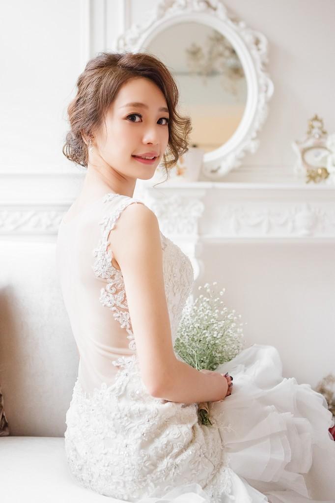 短髮新娘造型 及肩髮型01