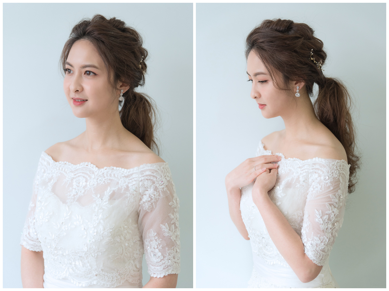 新娘造型 日式編髮低馬尾髮型 詠佳