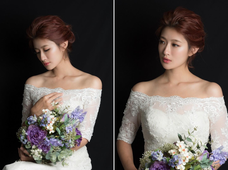 短髮新娘彩妝造型 光影呈現女孩臉龐的美