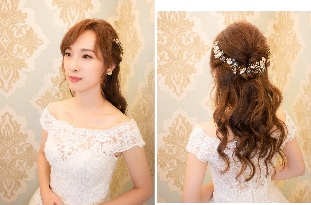 新娘造型風格 早妝晚宴多變風格髮型 自然透亮妝感 淑儀